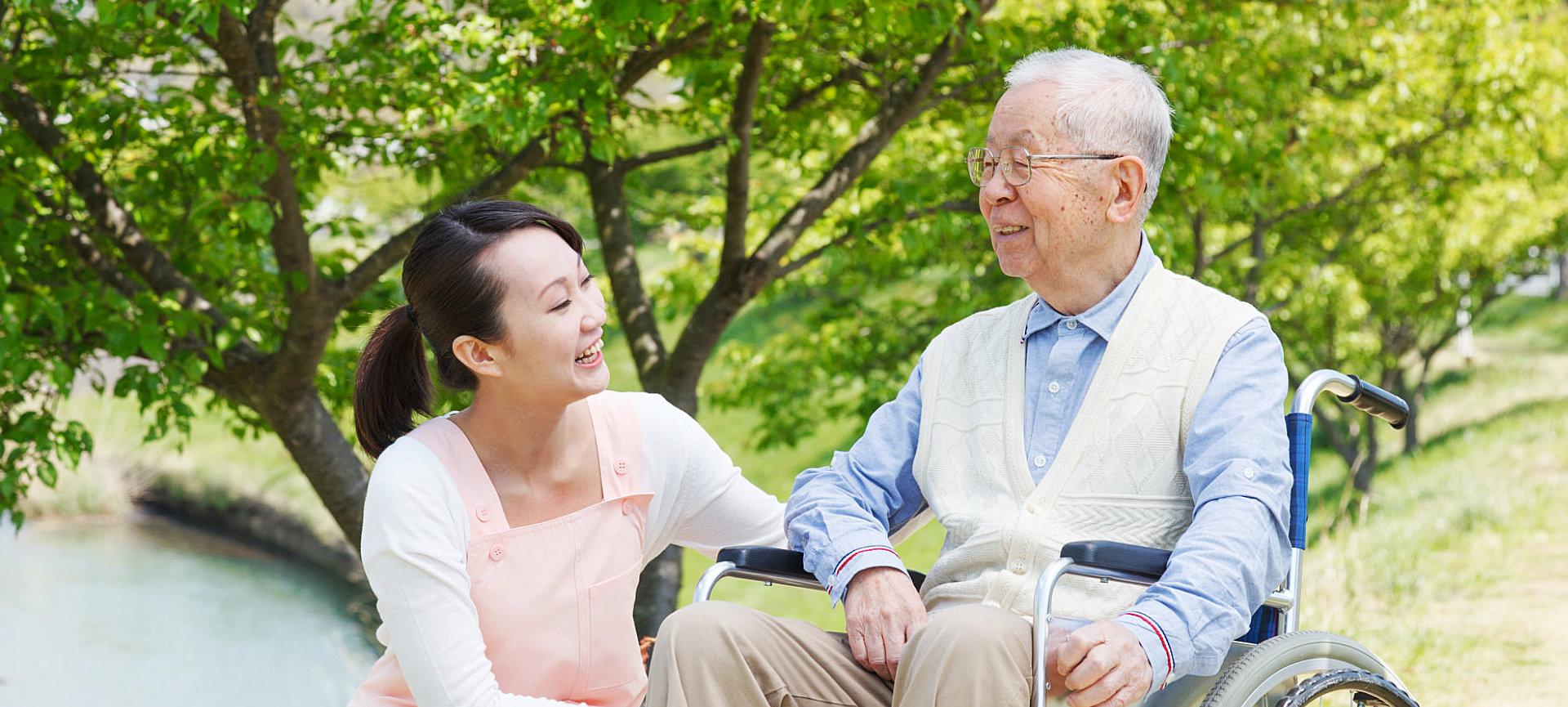 caregiver and an elder man